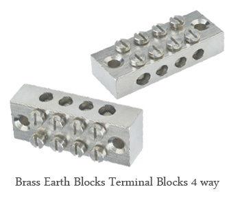 Brass Earth Blocks Terminal Blocks 4 way